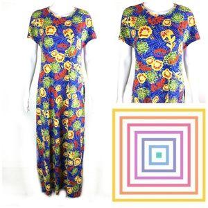 LuLaRoe Sz M Maria Tropical Floral Maxi Dress
